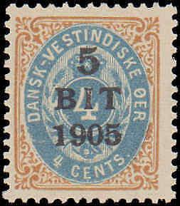 1905 Danish West Indies #40, Complete Set, Hinged