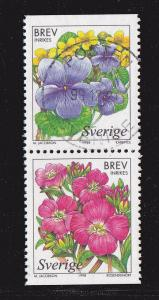Sweden # 2279-2280, Booklet Pair, Flowers, Used, 1/2 Cat.