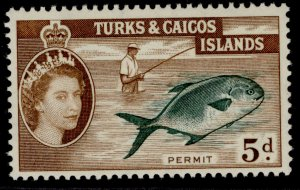 TURKS & CAICOS ISLANDS QEII SG243, 5d slate-green & brown, NH MINT.