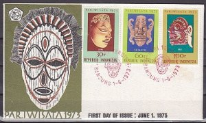 Indonesia, Scott cat. 842-844. Ceremonial Masks issue. First day cover. ^