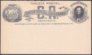 COSTA RICA UPU 4c postcard with reply card attached - fine unused..........53719