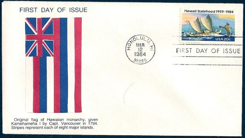 UNITED STATES FDC 20¢ Hawaii 1984 Cacheted