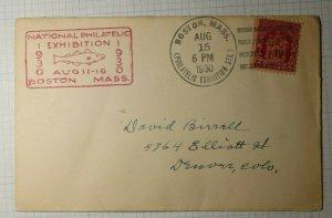 Natl Philatelic Exhibit Boston MA Philatelic Convention Cachet Cover 1930