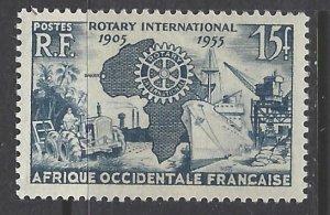 French West Africa, Scott #64; 15fr Rotary International, MH