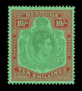 BERMUDA  1939  KGVI  10sh  red & green  Scott # 126b mint MH VF