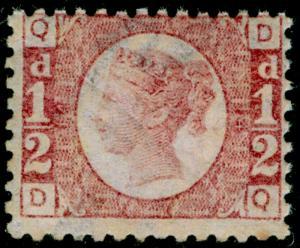 SG49, ½d rose plate 14, NH MINT. Cat £120+. DQ