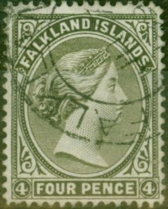 Falkland Islands 1895 4d Olive-Black SG32 Fine Used