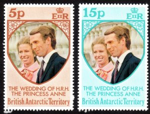 1973, British Antartica Territory,  Royal Wedding, MNH set, Sc 60-61
