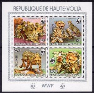 Upper-Volta (Burkina Faso) 1984 WWF Cheetah S/S SPECIMEN perforated MNH