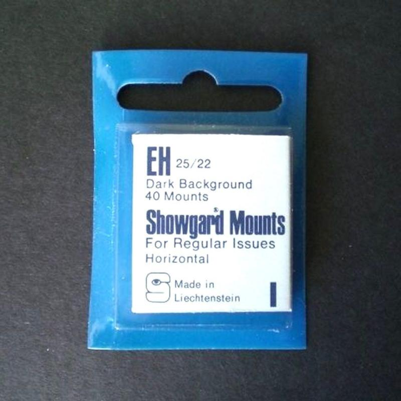 Showgard Stamp Mounts EH 25 / 22 mm BLACK Background Package of 40