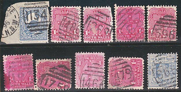 NEW SOUTH WALES QV 1d & 2d x 10 with numeral cancels.......................A108