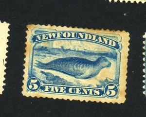 Newfoundland #54 MINT F-VF OG HR Stains thins Cat $175