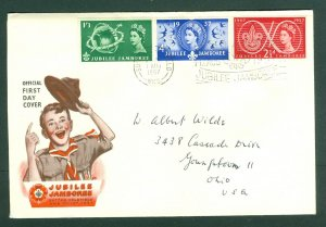 Great Britain. 1957 Cover Scout Jubilee With Insert Baden-Powell. Sc# 334-35-36.