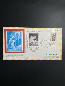 Jerusalem to Vatican City Israel First Flight Cover 1965 El Al Air