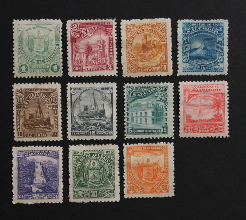 Stamp Salvador Sc# 146-156 MH 1896 Missing 157 Excellent Faces