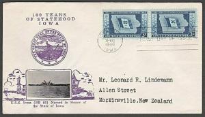 USA 1946 CROSBY photo FDC to New Zealand - 3c Iowa Statehood...............55575