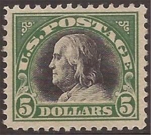 US Stamp - 1919 $5 Benjamin Franklin - F/VF MLH Stamp (Regum) - Scott #524
