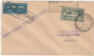 INDIA PAKISTAN 1934 KGV 1ST FLIGHT COVER KARACHI - LAHORE