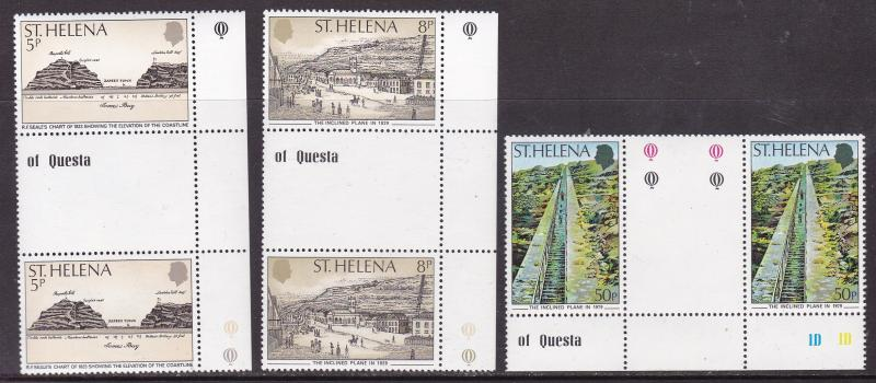 ST. Helena 1979 150th Anniversary Inclined Plane Jamestown Gutter Pairs VF/NH