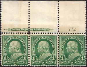 279 Mint,OG,NH... Plate# Imprint Strip of 3... SCV $85.00