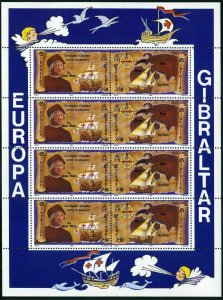Gibraltar 610-613a sheets,MNH.Michel 638-341 klb. EUROPE CEPT-1992,Columbus-500.