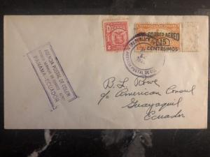 1929 Colon Panama First Flight Diplomatic cover FFC To Us Consulate In Ecuador