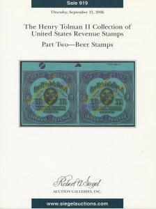 Henry Tolman, U.S. Beer Stamps, Robert A. Siegel, Sale #919, September 21, 2006