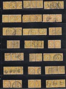 Small Queen lot 15 strips & 6 pairs DATED, fancy, Sq. circle Canada used