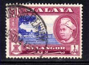 Selangor Malaya 1957 - 61 QE2 $1 Sultan used SG 125  ( K1374 )