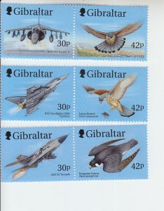 1999 Gibraltar Wings of Prey I 3 Pr (Scott 812a-14a) MNH