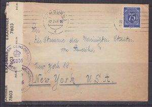 GERMANY, ALLIED ZONE, 1947 Censored cover, Hamburg to USA, 75pf.