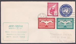 USA UN FRANKING 1960 first flight cover NY to Bombay India..................7175