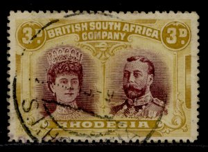 RHODESIA SG180, 3d purple and ochre, FINE USED. Cat £300. PERF 14 x 15