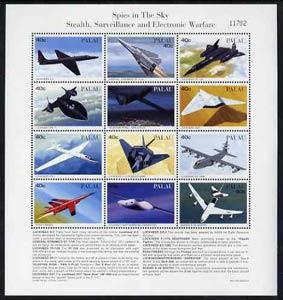 Palau 1996 Spy Planes sheetlet containing set of 12 with ...