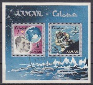 Ajman, Mi cat. 103-104, BL8 A. Space Research s/sheet. Canceled.^