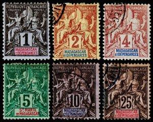 Madagascar - Malagasy Republic Scott 28-31, 33, 38 (1896) U/M H F, CV $19.55 C