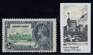 Sierra Leone, SG 183a, MLH Extra Flagstaff variety