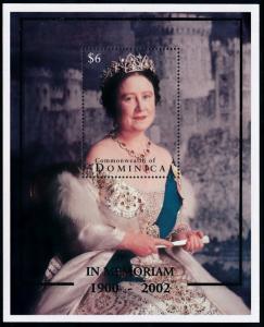 [78878] Dominica 2002 Royalty in Memoriam Queen Mother Souvenir Sheet MNH