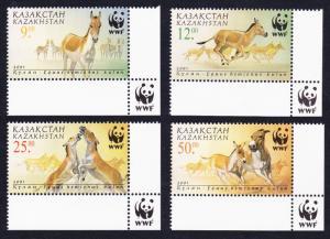 Kazakhstan WWF Kulan 4v with Bottom Right WWF Logo SG#332-335 MI#345-348