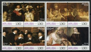 Aruba Art Stamps 2019 MNH Rembrandt 350 Years Night Watch Paintings 8v Block