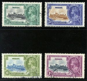 Malta 1935 KGV Silver Jubilee set complete VF used. SG 210-213. Sc 184-187.