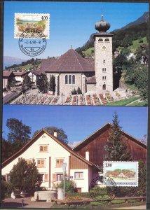 Liechtenstein 1998 Art Paintings Landscapes Architecture 2 Maxi Cards FDC