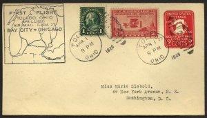 US U522 stamped envelopewith 649 on 1929 First Flight Toledo-Bay city Chicago