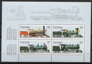 1984 Canada 1039a Steam Locomotives MNH S/S
