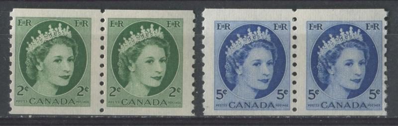 Canada #345, 348 2c & 5c 1954 Wilding Issue Coil Pairs DF Gr. Ribbed  F-70 NH