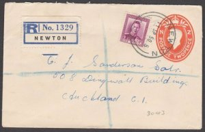 NEW ZEALAND 1950 GVI 2d envelope + 4d registered ex NEWTON..................B587