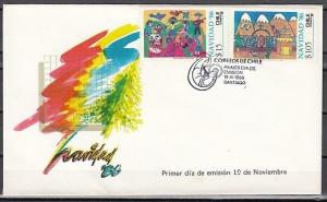 Chile, Scott cat. 736-737. Children`s Art, Christmas issue. First Day Cover.