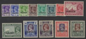 BURMA SGO15/27 1939 OFFICIAL SET MTD MINT