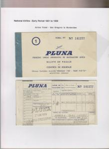 O) 1956 URUGUAY, PLUNA SAN GREGORIO, ​PASSAGE TICKET AND LUGGAGE CONTROL, XF