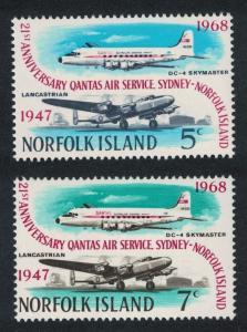 Norfolk 21st Anniversary of QANTAS Air Service 2v SG#96-97 SC#119-120